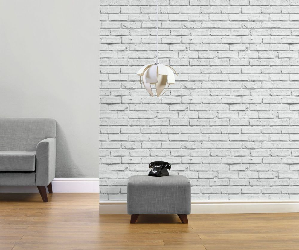 Arthouse White Brick 623004 Wallpaper